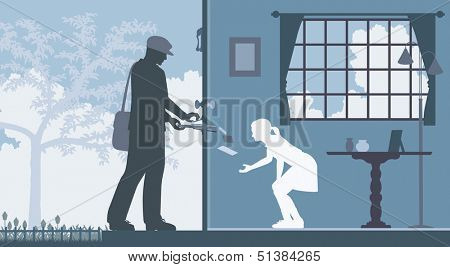 Editable vector illustration of a mailman delivering letters to a house with a girl waiting inside