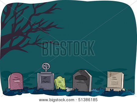 Halloween Illustration Featuring Tombstones Lined Up in a Cemetery