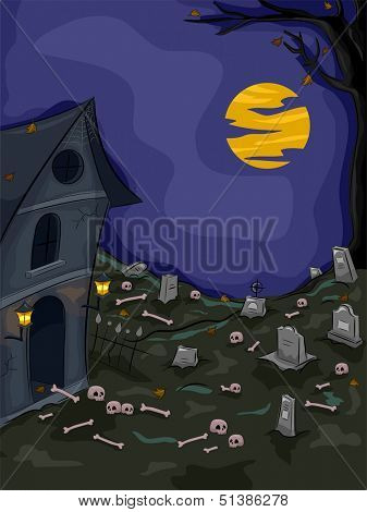 Halloween Illustration of an Abandoned Graveyard with Skulls and Bones Lying Around