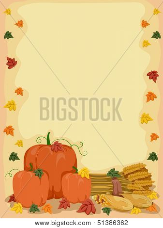 Background Illustration of Pumpkins, Wheat Stalks, and Corn Surrounded by Autumn Leaves