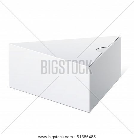 Realistic White Package triangular shape Box. For Software, electronic device and other products. Ve