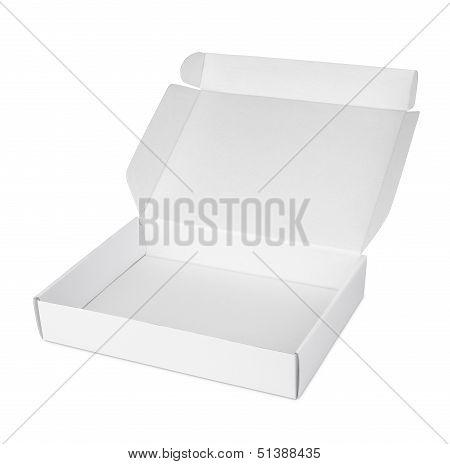 Open White Blank Carton Pizza Box