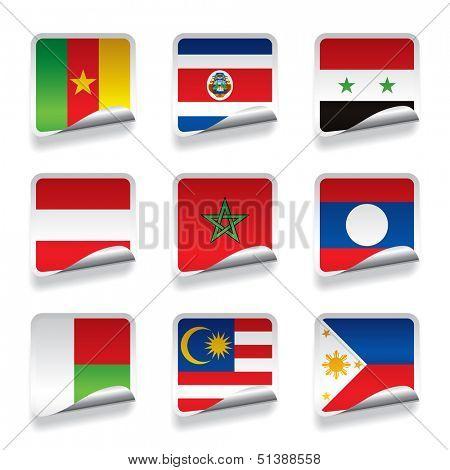 Vector set of world sticker flags