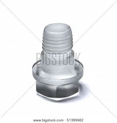 Unusual Bolt Made Of Transparent Plastic On White Background
