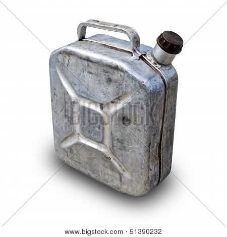 Old Metallic Gasoline Jerry Can Isolated On White