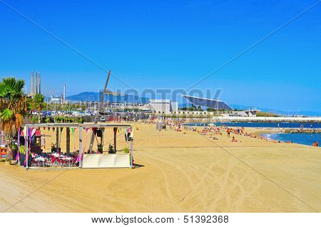 BARCELONA, SPAIN - SEPTEMBER 16: La Nova Mar Bella on September 16, 2013 in Barcelona, Spain. This beach, 420 meters long, arised with the urban redevelopment on the occasion of the 1992 Olympic Games