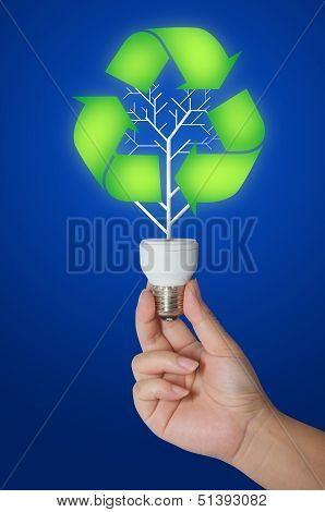 Hand Holding Light Bulb With The Recycle Symbol