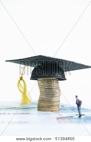 Miniature Student Standing On Top Of 20 Euro Banknotes