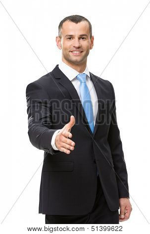 Half-length portrait of businessman hand shake gesturing, isolated on white