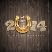 New 2014 year - holidays vector design with painted numbers and golden horseshoe on a wooden backgro