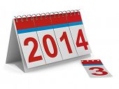 2014 year calendar on white background. Isolated 3D image
