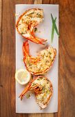 stock photo of lobster tail  - Grilled lobster tails - JPG