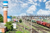 picture of railcar  - Railway station is photographed from above  - JPG