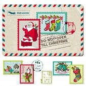 Christmas Vintage Postcard with Postage Stamps - for design, scrapbook - in vector