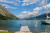 pic of engadine  - Scenic view at the lake Silvaplana in Switzerland - JPG