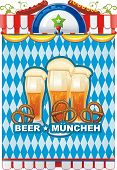 picture of pretzels  - Beautiful Oktoberfest background with beer and pretzel - JPG