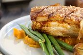 picture of pork belly  - Delicious roasted pork belly with crackling sweet potato mash and steamed green beans - JPG