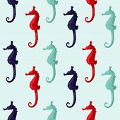 picture of seahorses  - Abstract red and blue seahorse isolated on a background - JPG