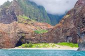 stock photo of na  - View on Na Pali Coast on Kauai island on Hawaii in a cloudy day - JPG