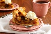 Slice Of Homemade Dutch Apple Cake With Whipped Cream