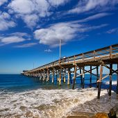 stock photo of tourist-spot  - Newport pier beach in California USA surf spot - JPG