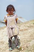 NAGARKOT, NEPAL - APRIL 5: Portrait of little unidentified Nepalese girl on April 5, 2009 in Nagarko