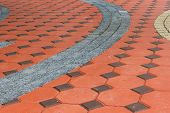 image of paved road  - Tiled paving stones colorful and pattern modern - JPG