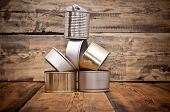 picture of reprocess  - Used tin cans background - JPG