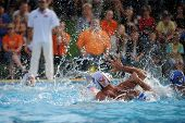 KAPOSVAR, HUNGARY - SEPTEMBER 15: Unidentified players in action at a Hungarian championship water-p