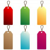 six varicoloured price-lists with cordages on a white background