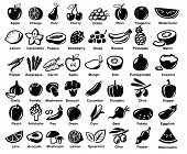 stock photo of tropical food  - vector black fruits and vegetables icon set on white - JPG