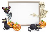 pic of skeleton  - Halloween sign or banner with orange Halloween pumpkins and black witch - JPG