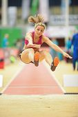 LINZ, AUSTRIA - JANUARY 31 Michaela Egger (#507 Austria) competes in the women's long jump event on
