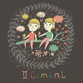 Cute zodiac sign - Gemini. Vector illustration. Little boys playing with birds on the branch in clou