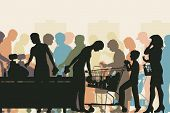 picture of supermarket  - Editable vector colorful illustration of people in checkout queues in a busy supermarket - JPG