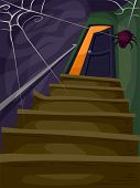 image of cobweb  - Halloween Illustration of a Flight of Stairs Filled with Cobwebs Leading to a Spooky Attic - JPG
