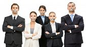 Group of business people with taped mouths and their hands crossed, isolated on white. Concept of sl