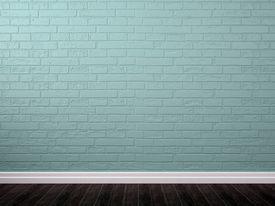 foto of plinth  - Interior background of blue brickwork brown parquet and white plinth - JPG