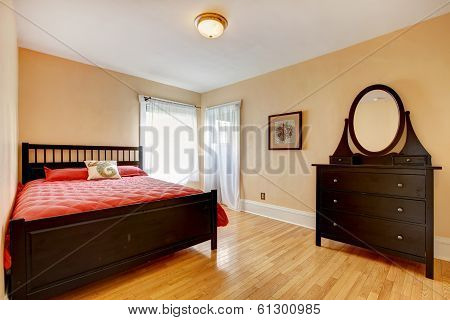 Beautiful Bedroom With Dark Brown Furniture