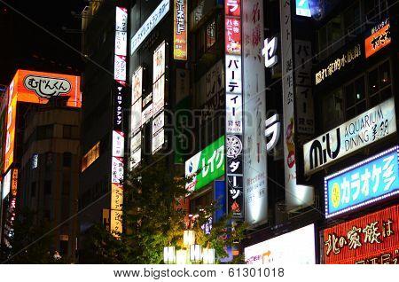 Tokyo, Japan - November 23, 2013: Neon Lights In Shinjuku District
