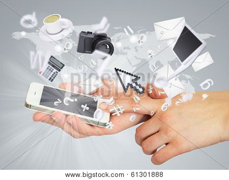 Hands holding smartphone. Concept electronics