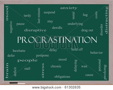 Procrastination Word Cloud Concept On A Blackboard