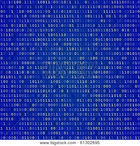 Blue screen binary code screen