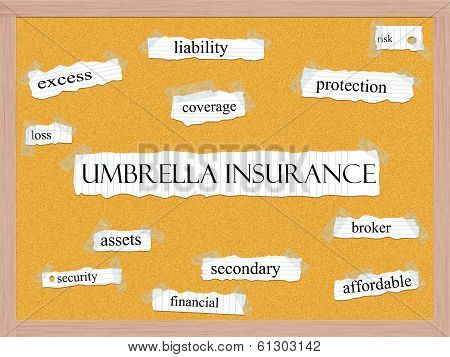 Umbrella Insurance Corkboard Word Concept