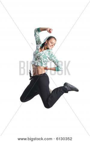 Attractive Girl Jumping In The Air