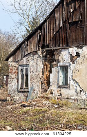 view on ruins of uninhabited old rural house