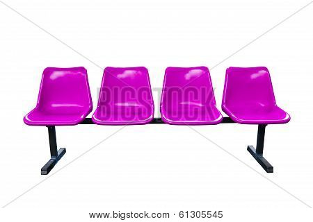 Purple Plastic Chairs At The Bus Stop Isolated