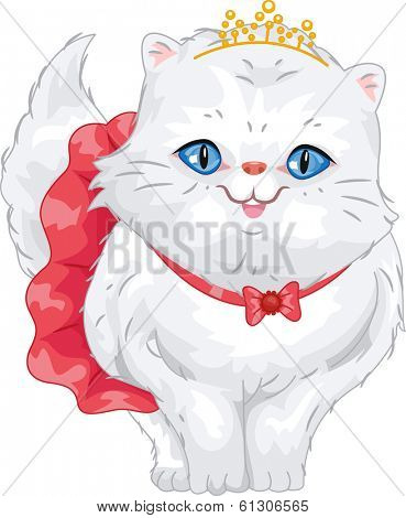 Illustration of a Cute Persian Cat Wearing a Frilly Skirt and a Tiara