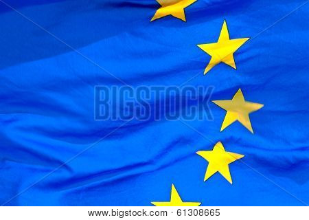 Detail Of The Waving Eu Flag