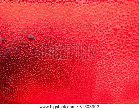 Dew Drops On Red Plastic
